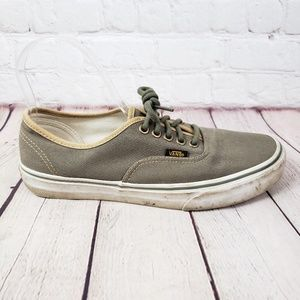Vans Olive Green Tan Skate Shoes Lace Up Flats